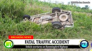 Fatal RTA on the Hummingbird Highway